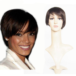 Short Hairstyles 6inch Machine made short human hair wigs none lace brazilian human hair short cut bob straight Dark Brown