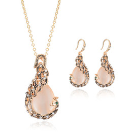 Creative peacock Gem Necklace Earrings Set European and American wedding banquet wedding accessories women fashion bridal jewelry Sets