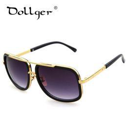 Or gros cadres lunettes en Ligne-Wholesale- Dollger Vintage Lunettes de soleil BIG SQUARE Gold Frame Hommes Femmes Retro Lunettes UV400 HD LENS Marque Designer lentes de sol homme s0744
