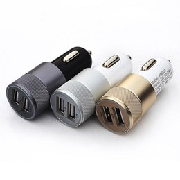 Best Universal Metal Dual 2 USB Port Car Charger Adapter 2.1A 3.1A for iPhone7 6S iPad iPod Samsung S6 S7 Fast Charging Mobile Phone charger