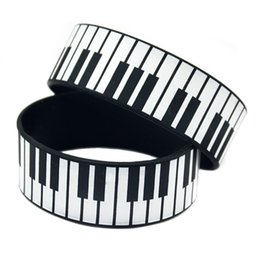 50PCS Lot 1 Inch Wide Printed Bracelet Big Piano Keys Silicone Rubber Wristband For Music Fans