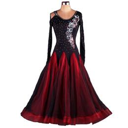2017 NEW Tailored Long Sleeve Black Rhinestones Ballroom Dance Competition Dresses Standard Dance Dresses Ballroom Dress D114