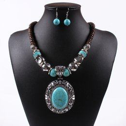Wholesale New Women Jewellery Tibetan Silver CZ Crystal Chain Pendant Necklace Earrings Set Round Turquoise Jewelry sets