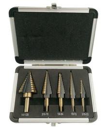 New Arrival High Quality 5pcs Set HSS MULTIPLE HOLE 49 Sizes STEP DRILL BIT SET Aluminum Case T03006
