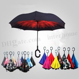 Wholesale Inverted Chuva Umbrella Self Stand Inside Out Umbrella Car Shaped C Handle Sun Rain Long Handled Umbrella Reverse Windproof Umbrellas D305