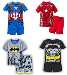 Spiderman ensembles de vêtements d'été en Ligne-Pyjamas d'été pour garçons Superman Spiderman Pyjamas de coton à manches courtes Set 2-7 ans 'Kids Clothing 6 S / l