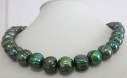 "natural 11-12mm tahitian baroque peacock green pearl necklace 18"" 14k yellow"