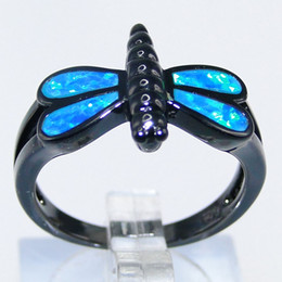 Fashion Jewelry Lovely Dragonfly Blue OPAL Ring Copper plating black Lovers Gift DR03011638R-k-10-3.9g Size6 7 Free shipping
