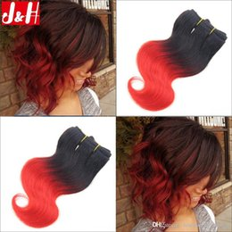 6Pcs lot 300g 8A Brazilian Ombre Hair Extensions Body Wave 1B RED Remy Hair Weaves 2016 Trendy Bob Short Hairstyle for African Women