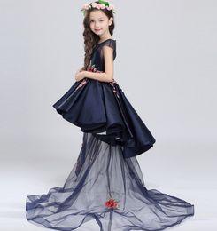 Wholesale Lace Embroidery Dress Catwalk - Children dress detachable princess skirt Catwalk shows host Costume Flower girl dresses