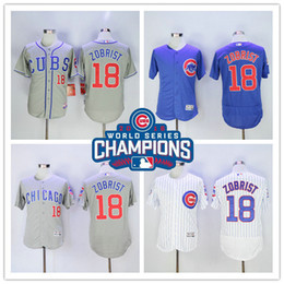 Wholesale 2016 World Series Champions Patch Ben Zobrist Chicago Cubs White Blue Grey Flex base Baseball Sports Jerseys Top Quality From China
