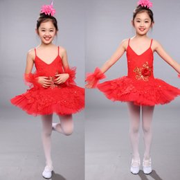 Red Girls Sequined Leotard Dancewear Ballet Tutu dress Gymnastics Dance Dress Kids Performance Party Costume Child Salsa Dress