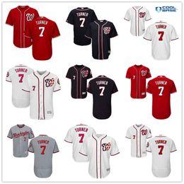 Wholesale New Washington Nationals Trea Turner White Navy Blue Gray Red Majestic MLB Baseball Jerseys Cheap