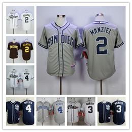 2017 johnny maillots manziel Haut de la page MLB San Diego Padres 2 Johnny Manziel 3 Derek Norris 4 Wil Myers Maillot de baseball authentique Noir Blanc Gris Logo cousu johnny maillots manziel à vendre