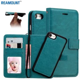 Wholesale Detachable Magnetic 2 in 1 Phone Case for iPhone 6 6 Plus Crazy Horse Pattern Wallet PU Leather Cover with Card Holder
