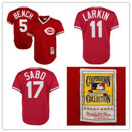 Wholesale Men s Retro Cincinnati Reds Johnny Bench Jerseys Barry Larkin Jersey Chris Sabo Jersey Stitched Mesh Baseball Jersey