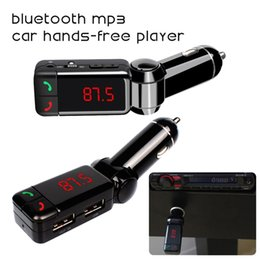 Wholesale Hand Free LCD Bluetooth Car Kit MP3 WPA Player FM Transmitter SD USB Charger Handsfree For iPhone