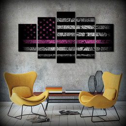 2017 línea de hd 5Pcs / set enmarcado HD impreso bandera de los EEUU Línea roja fondo de la imagen de la pared de la lona de arte Impresión del cartel de las ilustraciones Pintura al óleo moderna de la lona presupuesto línea de hd