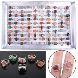 wholesale 100pcs various natural Unisex stone top Rings size 16-20 including display box