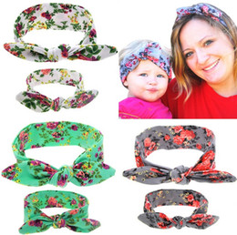 Wholesale Mommy and Baby Floral print bow headband set Infant Newborn Soft Headband rabbit ears Headdress hair accessories