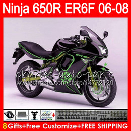8Gifts 23Colors Body For KAWASAKI NINJA 650R ER6F 06 07 08 Ninja650R 20HM22 Skull green ER 6F 06-08 ER6 F ER-6F 2006 2007 2008 Fairing Kit