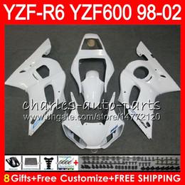8Gifts 23Color For YAMAHA YZF600 YZFR6 98 99 00 01 02 YZF-R600 54HM7 gloss white YZF 600 YZF-R6 YZF R6 1998 1999 2000 2001 2002 Fairing kit