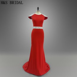 Red Cap Sleeve Prom Evening Dresses New Arrival Appliques Beaded Mermaid Fitted Backless Luxury Evening Gowns 013