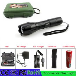 Wholesale Big Promotion Ultra Bright LED flashlight LM XM L T6 Torch Zoomable led flashlight with AC charger battery car charger