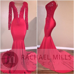Sexy Plunging V Neck Red Mermaid Prom Dresses 2K17 New Lace Sequins Long Sleeves Evening Dresses Zipper Back Vintage Formal Party Wear