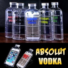 3D ABSOLUT VODKA Wine Beer Bottle Design Transparent Clear Crystal Anti-shock Soft TPU Silicone Cover Case For iPhone 6 6S Plus SE 5 5S