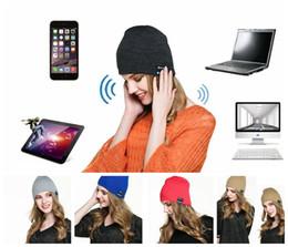 Wholesale Soft Warm Beanie hat Wireless Bluetooth Smart Cap Headset hat headphones music beanie Music Headset Speaker Hat KKA710