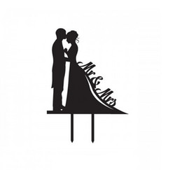 Acrylic cake inserted card, bride and groom cake insert, MR&MRS cake plug factory direct sales