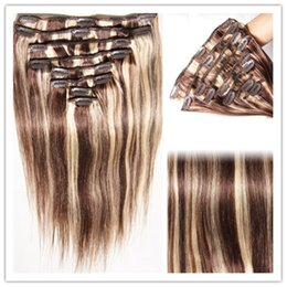 Extensión del pelo humano clip de la cabeza llena en venta-Clip en la extensión del pelo humano 16 clips café de la cabeza completa y color rubio de moda largo clip recto en el pelo 80g