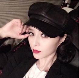 Wholesale Special Offer Winter Top Quality Sheepskin Leather Newsboy Cap Octagonal Benn Painter Hat Women For Men