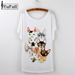 Wholesale Cat Lady T Shirt - Wholesale-New 2016 Fashion Tshirt Femme Vintage Summer T Shirt Women Clothing Ladies Tops Animal cat Print T-shirt Printed White Plus Size