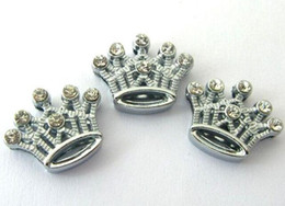 Wholesale 8mm 100pcs lot Rhinestones Crown Slide Charm DIY Alloy Accessories fit for 8mm phone strips leather wristband 0004