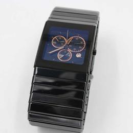 Wholesale - Luxury top brand full high quaity limited mens golden watch chronograph TICHY date ceramic black dial quartz mens dress watches