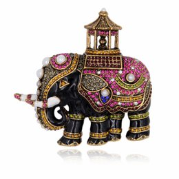 Wholesale Enamel Thailand Elephant Brooch Pin Pearls Lucky Animal Crystal Rhinestone Vintage Jewelry Accessory
