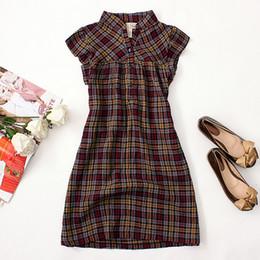 Descuento vestidos de verano de la manga medio El verano de las mujeres y la manera de Autum adelgazan el cortocircuito rizado cortocircuito del vestido de la manga de la tela escocesa del algodón femenino