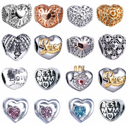 Wholesale BE142 Silver Heart Copper Inside Material Big Hole Loose Beads charm For DIY Jewelry Bracelet For European Bracelets