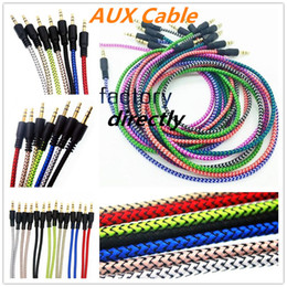 3.5mm cable de audio del conector online-Trenzado Audio Cable Auxiliar 1m 3.5mm Onda de extensión AUX cable macho a macho estéreo Carril de cable de nylon para Samsung PC MP3 auricular de altavoz