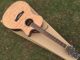 Acoustique de érable flammé en Ligne-Vente en gros-2016 nouvelle conception faite main flamme érable acoustique guitare avec accordeur électrique avec reliure celluloïde Livraison gratuite