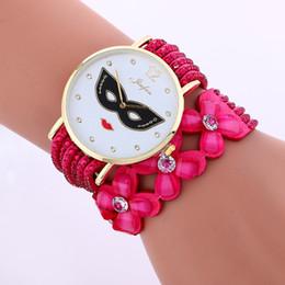 Wholesale women ladies dancing party mask face design watch fashion girls student leisure casual dress quartz diamond watch