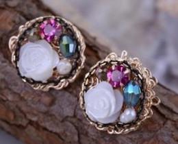 fashion shell pearl flower women's earings (1.8cm) (xgspc)