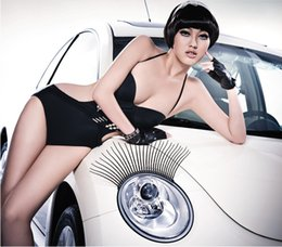 Wholesale 20Pcs Pairs Car Eyelashes FITS ALL CARS Pair of Universal Curly Sexy Car Headlight Eyelashes Decal Sticker