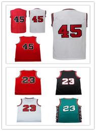 Machos negros en Línea-La venta al por mayor caliente 2017 de la venta al por mayor de la venta de la venta al por mayor los jerseys del baloncesto del varón # 45 la alta calidad 100% cosió el negro rojo blanco. Los jerseys S-XXL de los ..