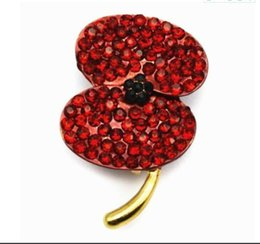 1.4 Inch Gold Planted Red Diamante Poppy Flower Brooch Pins UK Remebrance Day Brooches and Pins