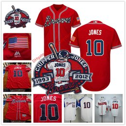 Wholesale Chipper Jones Jersey with Retirement Patch Atlanta Braves Stitched Cool Base Red White Cream Dark Blue