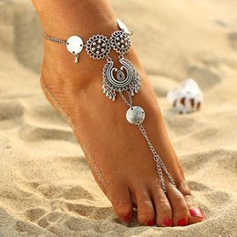 Vintage Antique Silver Retro Coin Anklets For Women Yoga Ankle Bracelet Sandals Brides Shoes Barefoot Beach Gifts 2017