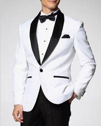 Custom Design One Button White Groom Tuxedos Best man Shawl Lapel Groomsman Men Wedding Suits Bridegroom (Jacket+Pants+Tie) G1456
